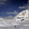 Sur le glacier d Hispar, col d Hispar dans le fond