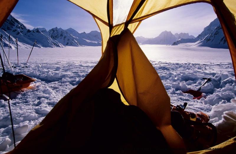 Camp à Snow Lake, vue sur le Sim Gang glacier