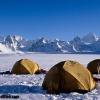 Camp sur Snow Lake, Hispar muztagh dans le fond