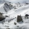 Traversée du glacier d Hispar avant de chausser les skis