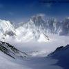 Depuis un sommet central de Snow Lake, vue sur la face nord du Baintha Brakk